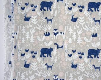 "LORE fabric by Leah Duncan - Little Bears - Lions Tigers and Bears. Cloud 9 Fabrics. Organic cotton poplin. Half Metre/19.5"""