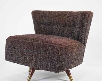Mid Century Era Brown Upholstered Armless Vanity Chair, ca 1950s