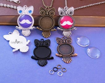 5- 20mm Round DIY Owl Pendant Craft Kits - Complete Pendant Tray Kit - Includes Trays, Chains, Glass Cabochon, & Jump Ring. Choose 5 Colors.