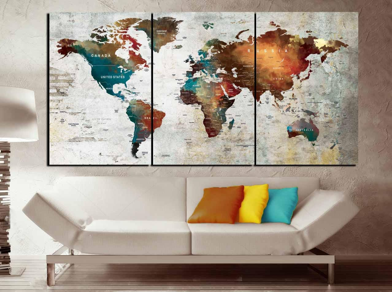 Push pin map canvas wall art3 piece canvas world mapworld map push pin map canvas wall art3 piece canvas world mapworld map wall artworld map canvas printworld map abstract artword map art print gumiabroncs Image collections