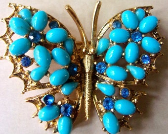 Turquoise Milk Glass Butterfly Brooch-Pin, signed ART, Blue Rhinestones, Vintage