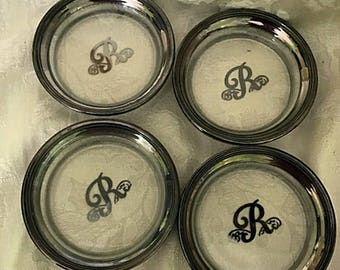 MCM Queens Lusterware Silver Glass Initial  R Coasters Set of Four