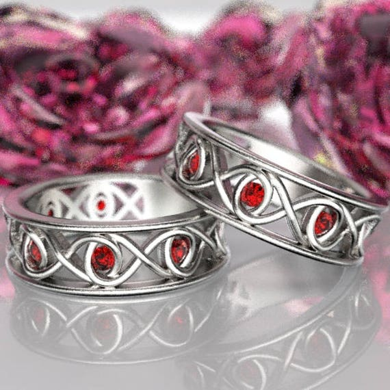 Celtic Ruby Wedding Ring Set With Infinity Knot Design in Sterling Silver, Made in Your Size CR-511