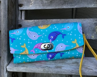 Narwhal Wallet, Narwhal NCW Wallet, Emmaline Narwhal Necessary Wallet, Narwhal iphone wallet 4-7, Ladies Wallet, Ladies Narwhal wallet
