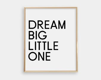 Nursery Art Print - Dream Big - Minimalist - Light Grey and Black - Modern Nursery Art Print - Buy One Get One Free - Baby Shower - SKU:5010