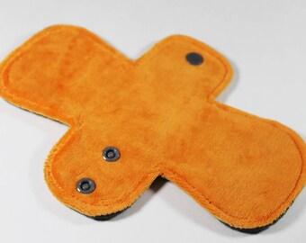 """Reusable Cloth Pad - 8"""" Pantyliner - Orange Cotton Velour"""