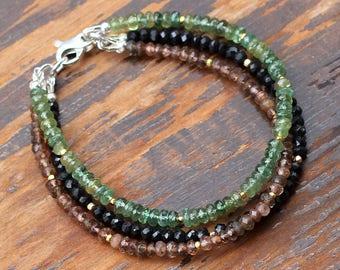 Green Apatite Bracelet, Andalusite Bracelet, Black Spinel Bracelet, 14k Gold Bracelet, Triple Strand Bracelet, Multi Gemstone Bracelet