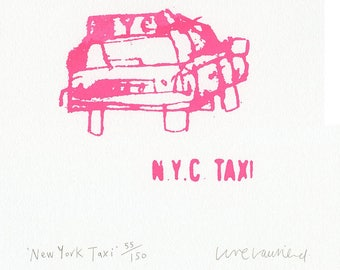 PINK NEW YORK Taxi, Handmade Original Screen Print, Signed Limited Edition Hand Pulled Neon Pink Art, Nyc Sketchbook City Drawing Graphic