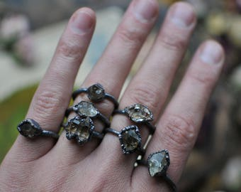 Herkimer Diamond, Qartz Ring, Copper ring, Electroformed Ring, Raw Natural Ring, Gemstone ring, Unique Ring, Unique Engagement, Solitaire