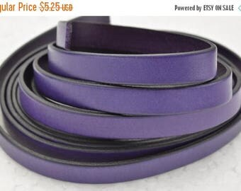 "ON SALE 10MM Flat Leather Cord - Purple - 24""/2ft"