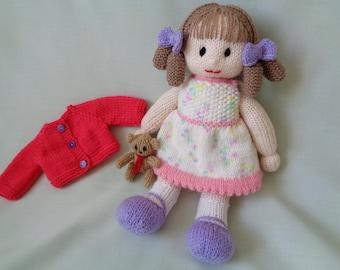 Doll, Hand Knitted Doll, Penny, Handmade Doll, dressed doll, Rag Doll, Waldorf Doll, Little girl gift, Flower Girl Gift