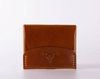CardShell™ Cash Cardcase Leather Wallet - Saddle Tan Hand-Dyed Herman Oak Leather