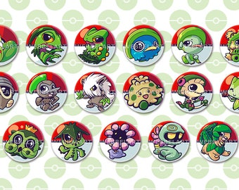 Generation 3  Grass type pokémon 38mm buttons
