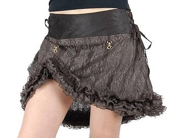 PROMOS Short lace skirt in brown color, gypsy, bohemian, festival, steampunk, burning man, burlesque