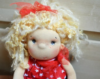 Waldorf doll, Dress up fabric doll, Handmade cloth doll, Blonde haired rag doll, Gift for her, Waldorf inspired doll, Cute soft doll