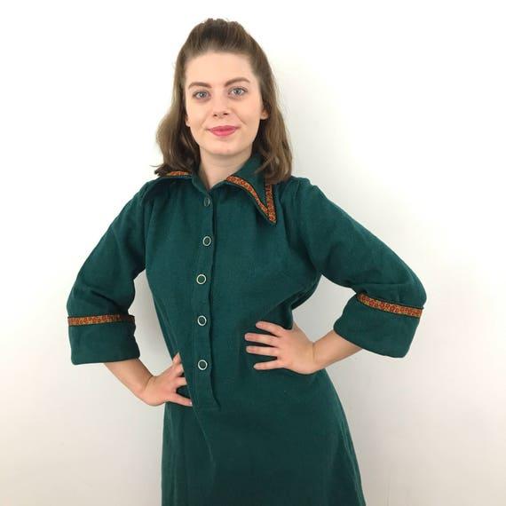 Vintage wool dress 1970s green dress unusual blanket fabric handmade A line smock dress Austrian ribbon trim dagger collar midi tirolian 70s