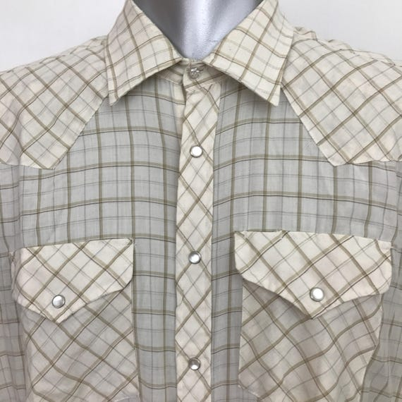 Vintage Western Shirt cream check poly cotton cowboy shirt beige plaid weave snap button front large rockabilly