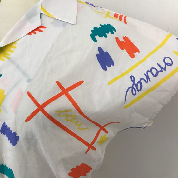 Vintage novelty print shirt rainbow French colours blouse UK 12 white cotton style shirt fun pattern nu wave