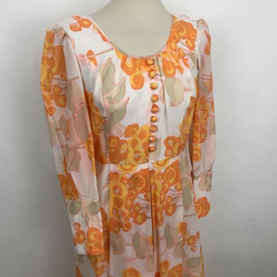 1970s maxi dress floral print flower floaty long orange 70s Abigails Party UK 10 US 6 summer festival