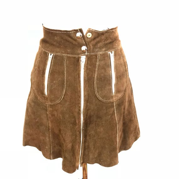 """Vintage suede mini skirt 1970s brown real leather suede skirt silver button zip front skirt 70s boho hippy style 25"""" waist UK 6 A line"""