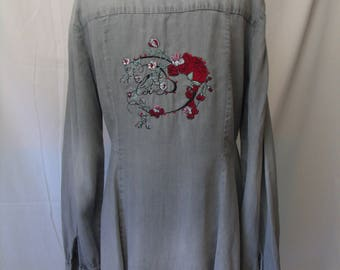 Beautiful Embroidered Shirt/Hem/Savorski Gems