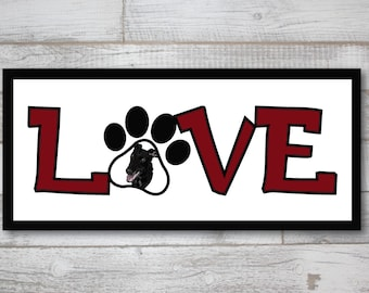 "Black Greyhound Love Print 12"" x 5"""