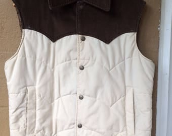 """VTG 70's/80's Sears """"Western Outdoor Wear"""" Brown and Tan Corduory Vest, Sz M"""