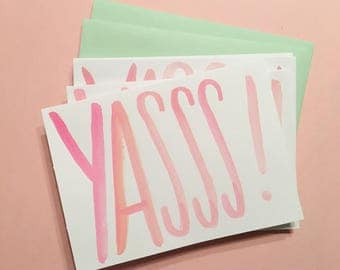 Yasss! cards   Set of 4 hand-painted notecards