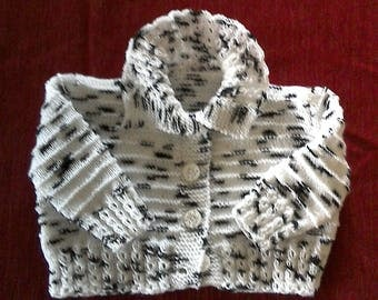 White baby jacket speckled Black + Hat - lili knits