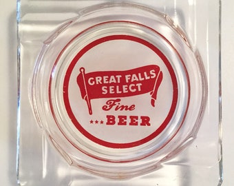 Vintage Great Falls Select Beer Glass Ashtray Nice Gift Item for Tobacciana and Beer Collectors Vibrant Color