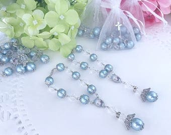 60 pc BLUE Baptism favors/mini rosary/ recuerdos de  lbautizo/ christening favors/ rear mirror charms with angels