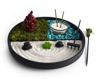 Mini Zen Garden // Laughing Buddha Statue // Incense Burner // Desk  Accessory