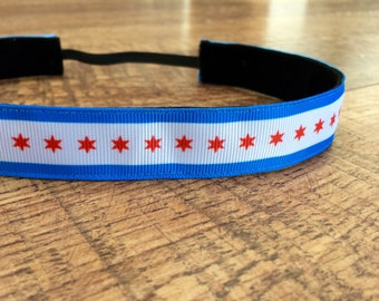 Women's Chicago flag headband. Chicago flag headband, Chicago headband, cubs headband, chicago marathon headband, hair accessory