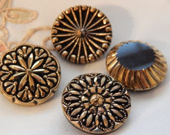 Fashion Vintage Buttons - 4 Black Glass with Gold Luster