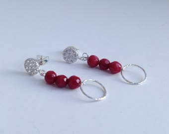 Sterling Silver, Crystal and Faceted Ruby Beads Drop Pierced Earrings. Red and Silver Earrings. Occassion Earrings. Ruby Bead Earrings.