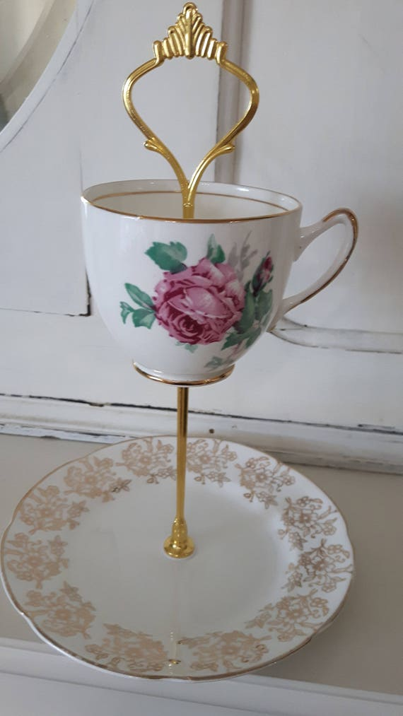 Vintage china cake stand, trinket stand, gorgeous pink and gold floral design