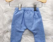 Harem Cuffed Pants / Cotton Linen Pants / Unisex Baby and Toddler Pants / Lounge Pants / Blue Linen