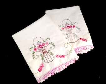 Pair Embroidered Pillowcases, Purple Crochet Trim, Soft Off-White Cotton, Vintage Pillowcases, Embellished Bed Linens, Farmhouse Cottage