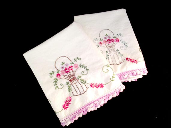 Pair of Vintage Embroidered Pillowcases, Purple and White Crochet Trim