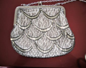 Silver Beaded Shoulder Evening Purse Prom Wedding Evening Out