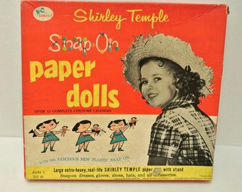 Vintage 1950s Shirley Temple Box  Lot of Mixed Paper Dolls with Outfits Craft Project Collectible Ephemera