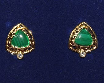 Jackie Kennedy Malachite Earrings - GP, Gemstones, Box and Certificate