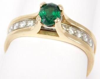 18K Emerald & Diamonds Ring Modernist Unique Design