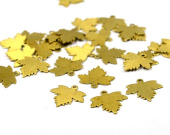 25  Pcs. Raw Brass 13x14 mm Leaf Charms  Findings