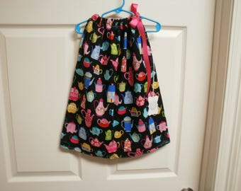 Fancy Tea Pots Pillowcase Dress size 3