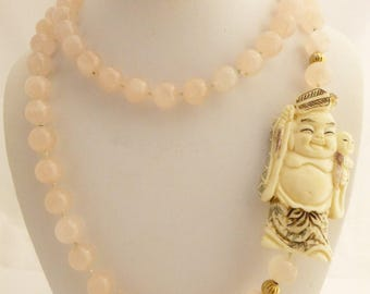 Rose Quartz Hand Knotted Necklace W/Hand Carved Happy Buddha Pendant