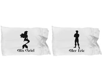 Disney His Ariel and/or Her Eric Gift Pillow Case(s) Disneyland Couple Love Set Little Mermaid