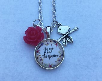 His Eye Is On the Sparrow - charm necklace