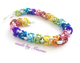 Chainmail bracelet, rainbow chainmaille bracelet, gaypride rainbow chain mail bright anodized handmade chain link jewelry made by misome