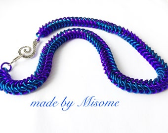 Chainmail bright colorful necklace - chainmaille jewelry - chain mail handmade aluminum jewellery made by misome
